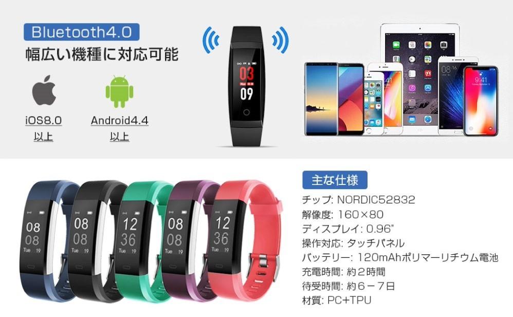 新品 SMWB-PU スマートウォッチ 活動量計 心拍計 血圧計 IP67防水 多機能スポーツウォッチ スマー トブレスレット iPhone/android対応_画像3
