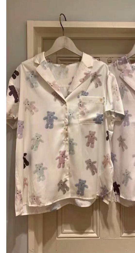 新品未使用品 ジェラートピケ 10周年 テディベアサテンシャツ&ショットパンツ 上下セット 取り置き同梱OK_画像2