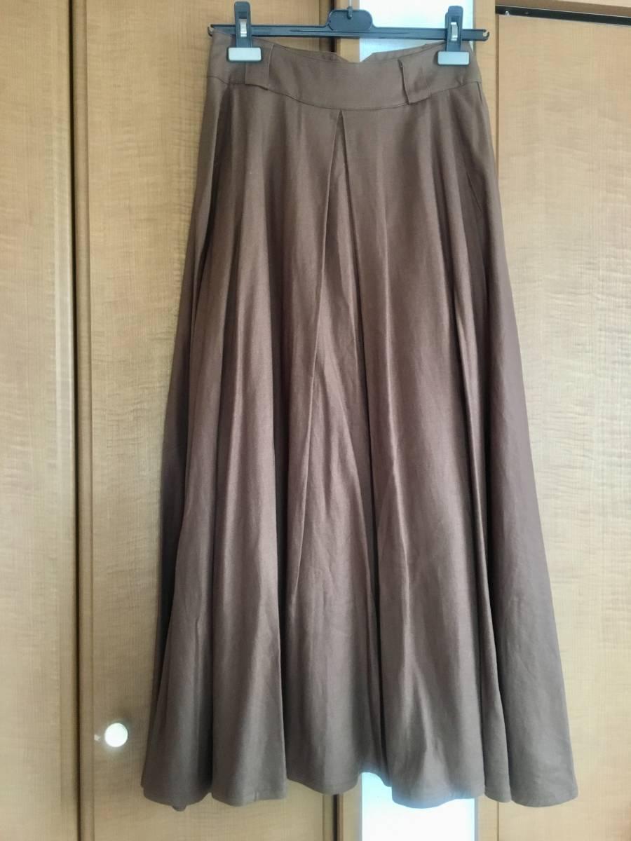 【新品】フリークストア FREAK'S STORE ★ リネンレーヨンボリュームスカート 麻 茶 ブラウン マキシ