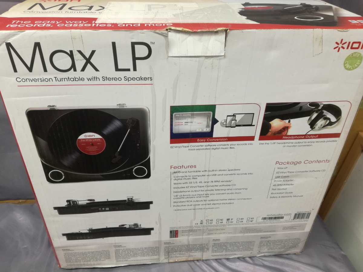 J614 美品中古 送料無料 動作確認済 ION Audio Max LP レコードプレーヤー USB端子 スピーカー内蔵 ピアノブラック アナログサウンド_画像2