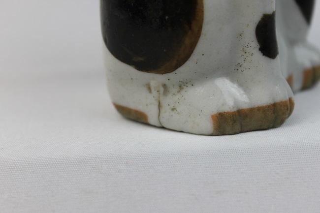 【胡】レア アンティーク レトロ まねき猫 磁器 左手招き 白磁製 大正~昭和初期 置物 招福 商売繁盛 開運 縁起物_画像9