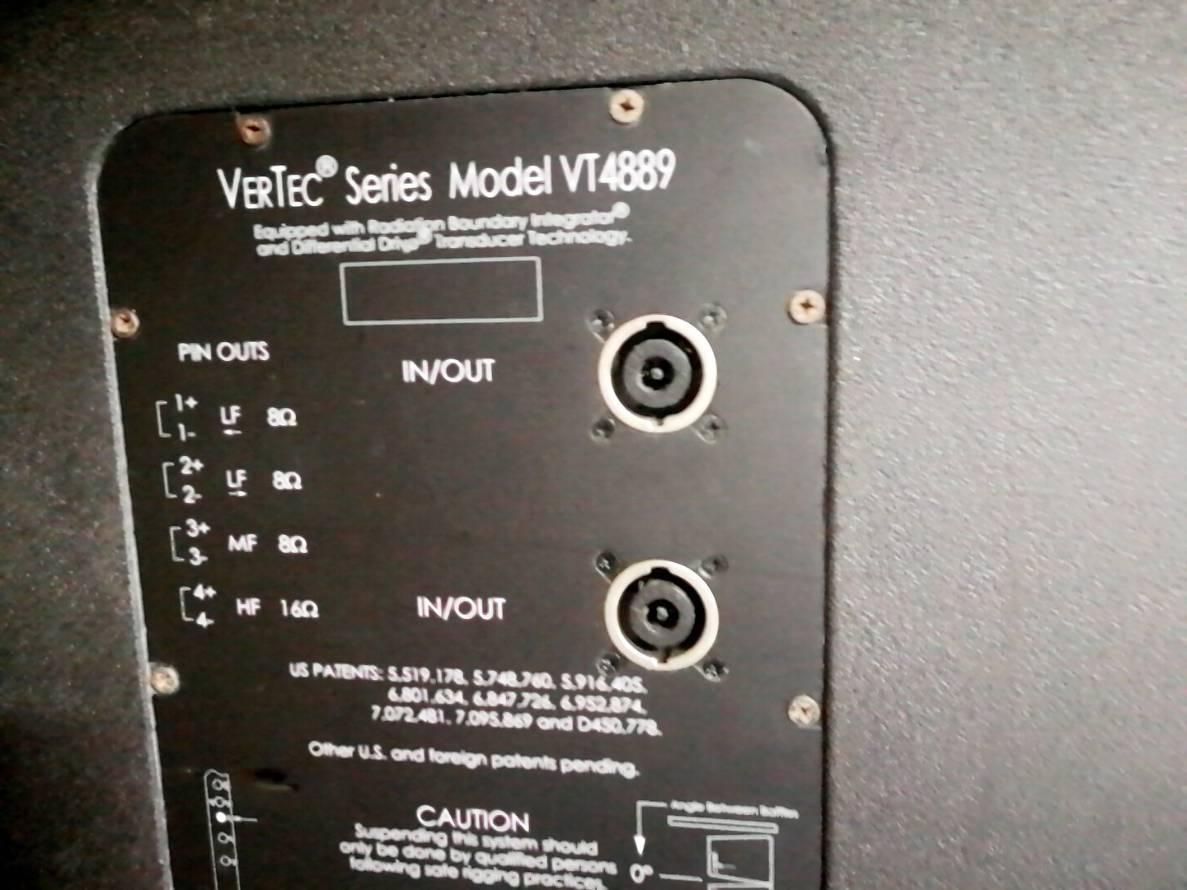 JBL VERTEC VT-4889 4台セット(#2) 完全動作保証!!4台とも キャスター板、プロテクションカバー&アルミ製・吊り下げ金具 1台付属_画像5