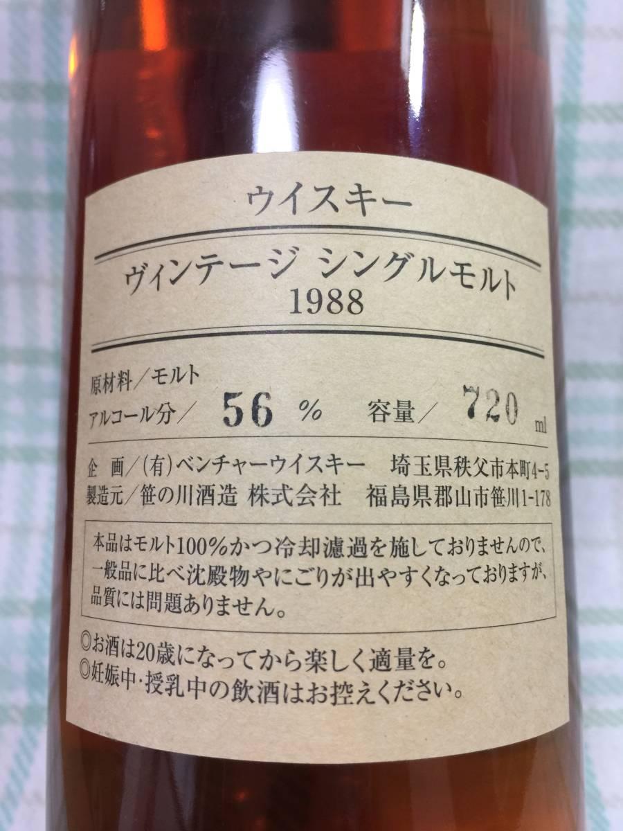 【新品・未開栓】イチローズモルト Ichiro's Malt ビンテージシングルモルト1988 ウイスキー 720ml 56%_画像3