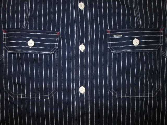 美品 JELADO インディゴ ウォバッシュ ストライプ ワーク シャツ S デニム 半袖 Ventilation Work Shirts ベンチレーション _画像6