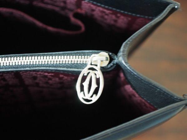 レア美品 カルティエ Cartier カボション レザートートバッグ シルバー金具 箱・ギャランティ有 76_画像8