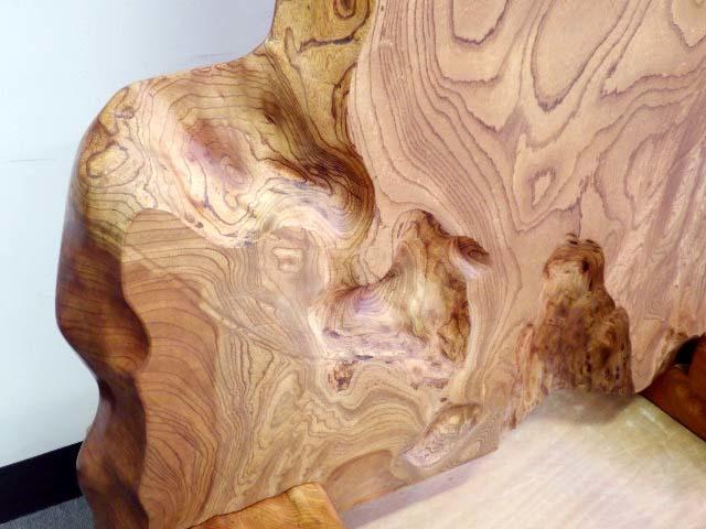 214【S.R】天然木 一枚板 衝立 木工工芸 総無垢 ついたて 置物 間仕切り ケヤキ/欅 和家具 幅102㎝ 高120㎝ 香川発_画像4