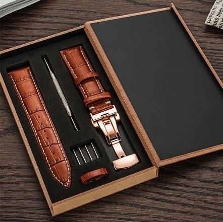 新品 腕時計 本革 カーフレザーベルト サイズ豊富 12mm~24mm ユニセックス 男女兼用 316Lステンレス使用 バタフライバックル ギフト_画像1