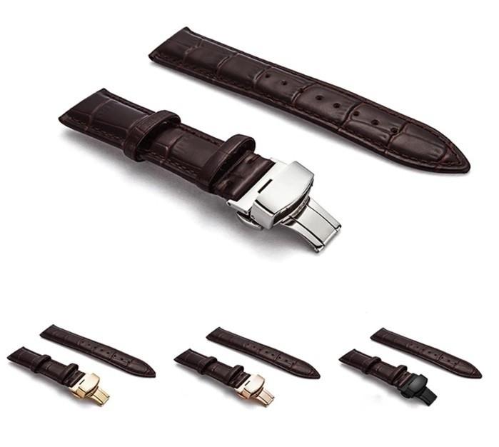 新品 腕時計 本革 カーフレザーベルト サイズ豊富 12mm~24mm ユニセックス 男女兼用 316Lステンレス使用 バタフライバックル ギフト_画像3