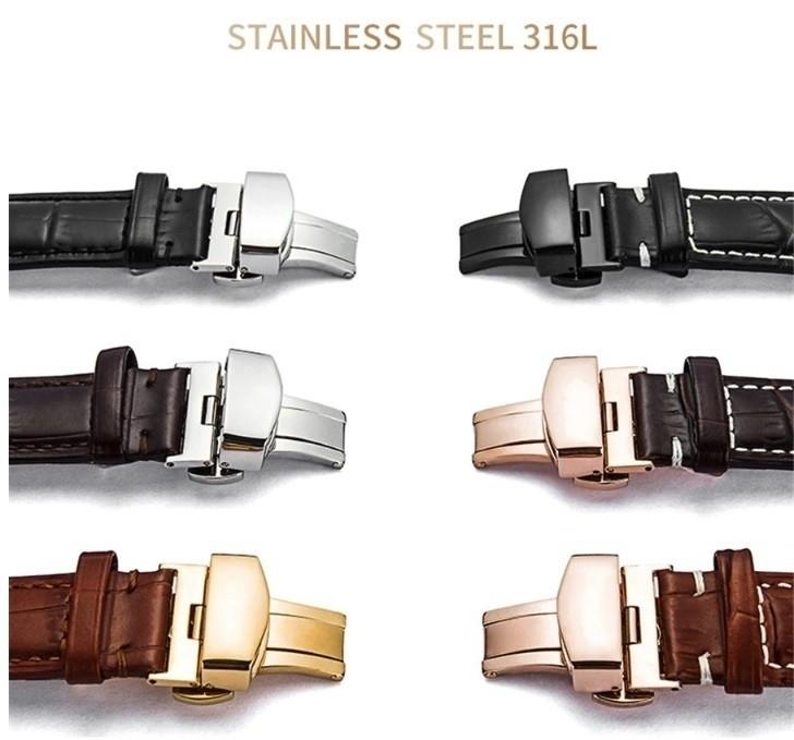 新品 腕時計 本革 カーフレザーベルト サイズ豊富 12mm~24mm ユニセックス 男女兼用 316Lステンレス使用 バタフライバックル ギフト_画像9