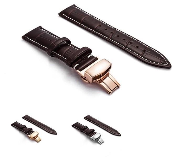 新品 腕時計 本革 カーフレザーベルト サイズ豊富 12mm~24mm ユニセックス 男女兼用 316Lステンレス使用 バタフライバックル ギフト_画像4
