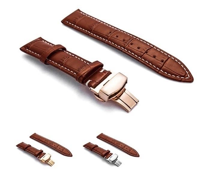 新品 腕時計 本革 カーフレザーベルト サイズ豊富 12mm~24mm ユニセックス 男女兼用 316Lステンレス使用 バタフライバックル ギフト_画像6
