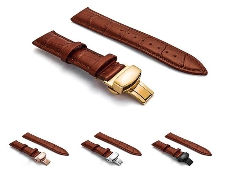 新品 腕時計 本革 カーフレザーベルト サイズ豊富 12mm~24mm ユニセックス 男女兼用 316Lステンレス使用 バタフライバックル ギフト_画像5