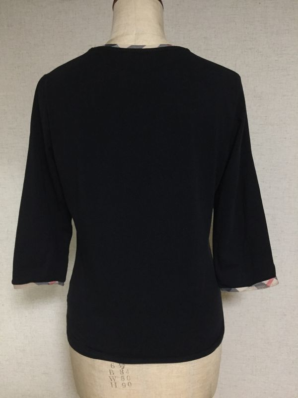 1円~ 売切 BURBERRY LONDON バーバリー ロンドン 七分袖 Tシャツ ブラック M_画像2
