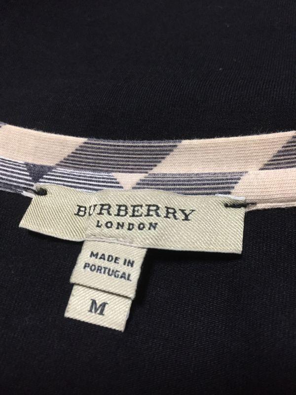 1円~ 売切 BURBERRY LONDON バーバリー ロンドン 七分袖 Tシャツ ブラック M_画像4