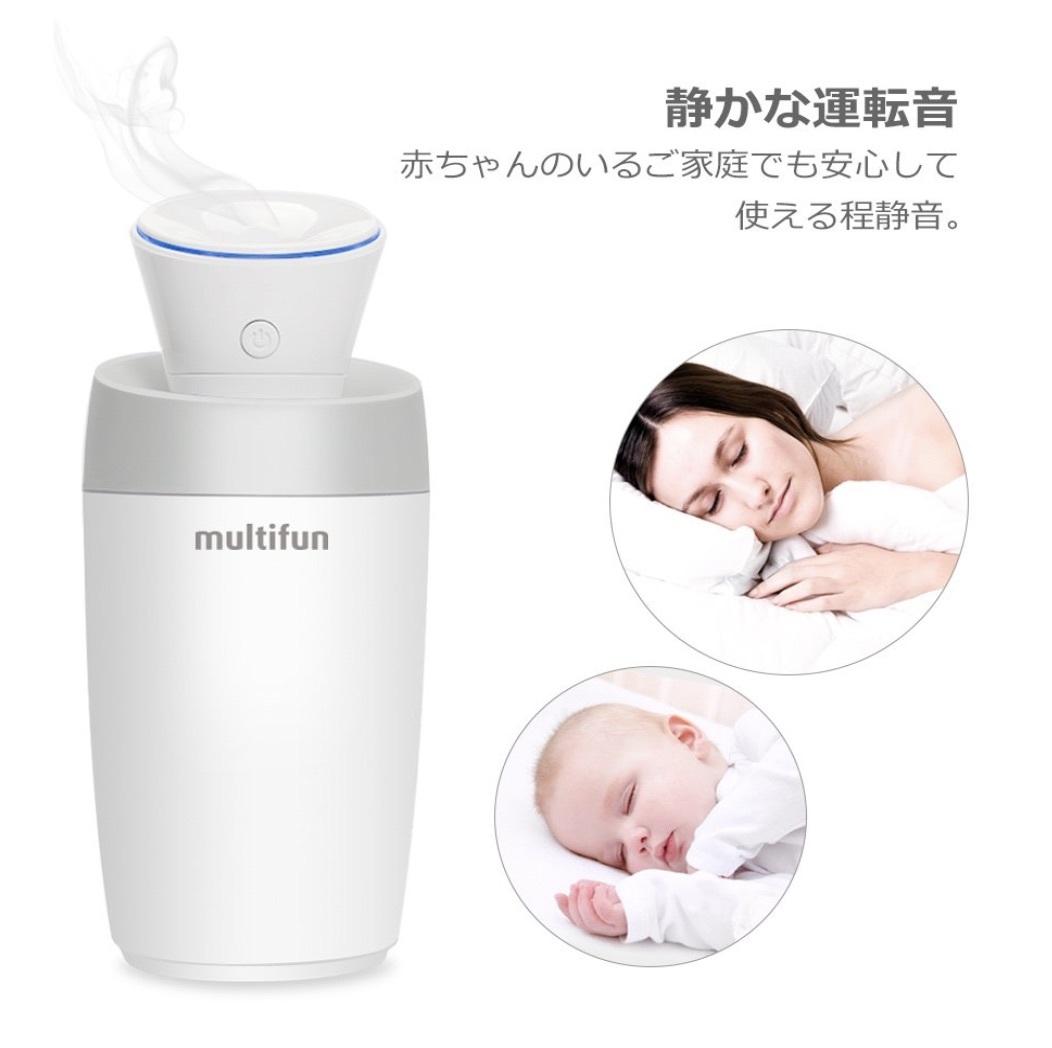 ◆ 送料無料 ◆ multifun  超音波加湿器  USBミニ加湿器(卓上 / 車載) ホワイト 日本語説明書対応_静かな運転音