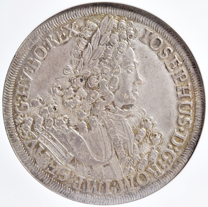 売切り!!1円~迫力の大型銀貨★世界に4枚 NGC鑑定AU 1711年 オーストリア 神聖ローマ帝国 ヨーゼフ1世 ターラー銀貨 ターレル アンティーク