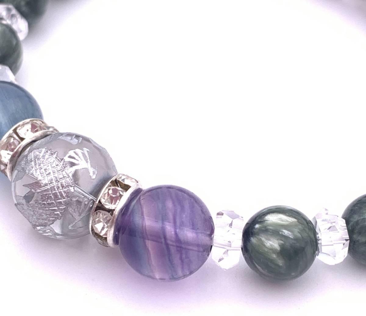 天然石水晶銀彫り青龍12mm玉&フローライト&セラフィナイトのブレスレット_画像2