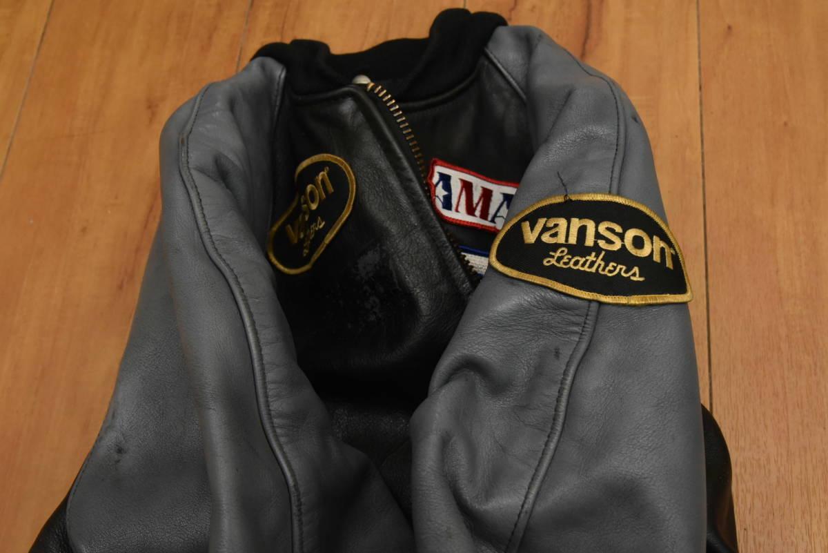 VANSON バンソン 本革レザー スタジャン ジャケット サイズ36 スタジアムジャンパー ※傷有り_画像8