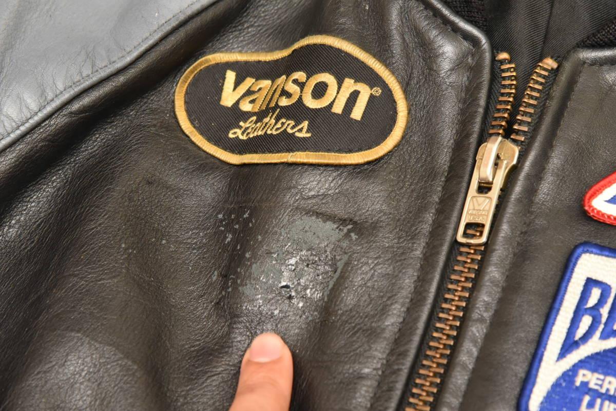 VANSON バンソン 本革レザー スタジャン ジャケット サイズ36 スタジアムジャンパー ※傷有り_画像2