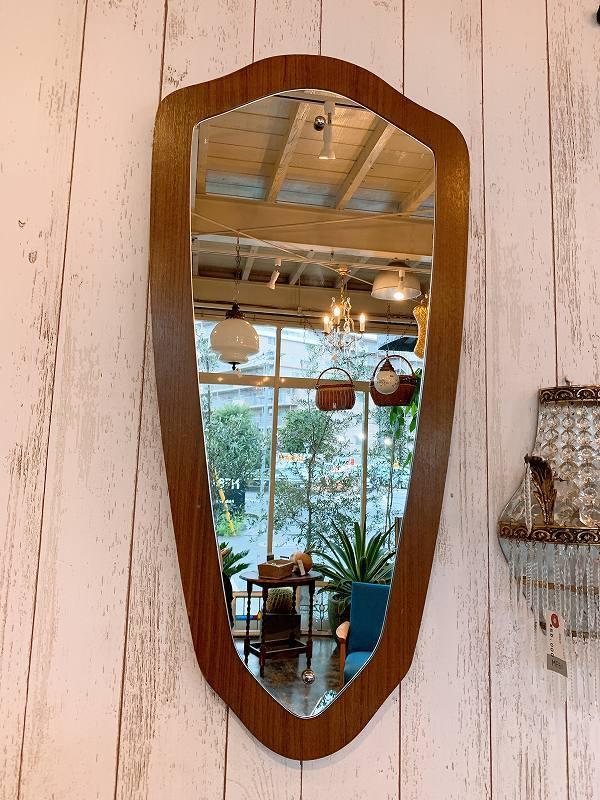 北欧 ミラー 壁掛けミラー チーク材 アンティーク 鏡 ビンテージ 店舗什器 B0676_画像2