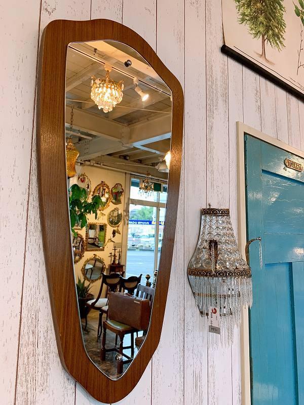 北欧 ミラー 壁掛けミラー チーク材 アンティーク 鏡 ビンテージ 店舗什器 B0676