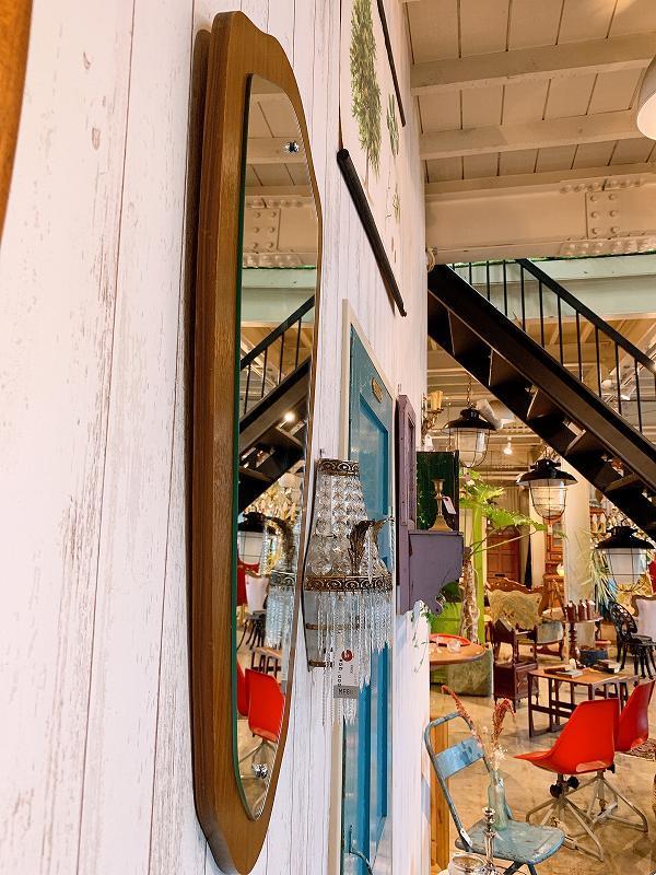 北欧 ミラー 壁掛けミラー チーク材 アンティーク 鏡 ビンテージ 店舗什器 B0676_画像3