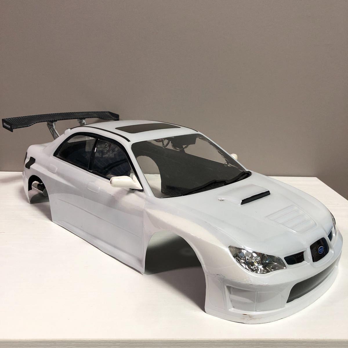 売切!1円スタート!タミヤ 1/10 電動RC ボディセット スバル インプレッサ WRC 塗装済 ジャンク 社外ウイング ライトユニット付_画像3