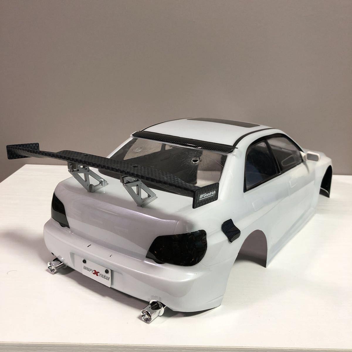 売切!1円スタート!タミヤ 1/10 電動RC ボディセット スバル インプレッサ WRC 塗装済 ジャンク 社外ウイング ライトユニット付_画像4