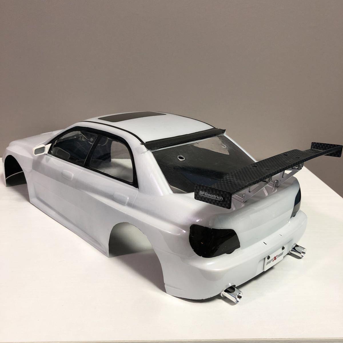 売切!1円スタート!タミヤ 1/10 電動RC ボディセット スバル インプレッサ WRC 塗装済 ジャンク 社外ウイング ライトユニット付_画像6