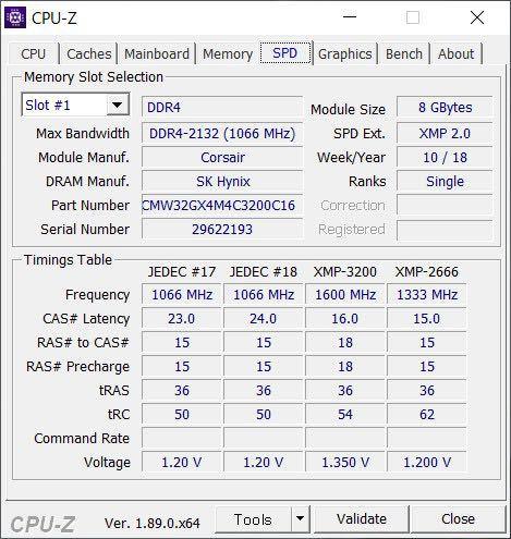 Corsair VENGENCE RGBPRO DDR4 4x8GB 3200MHz SPD書き換え_画像3