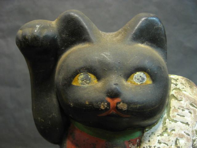 ★戦前 黒猫の招き猫 土人形★_画像3