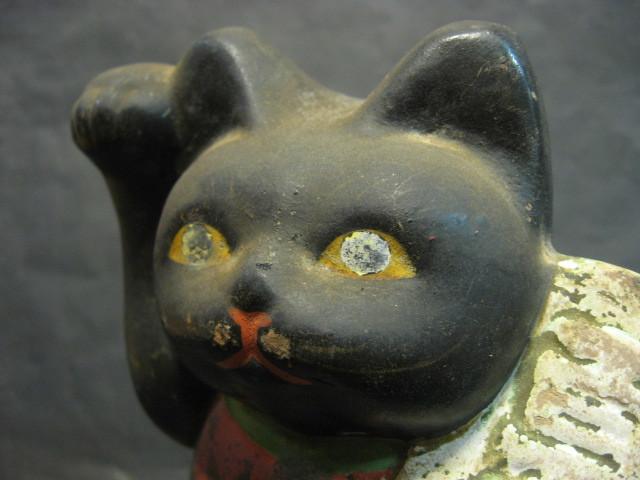 ★戦前 黒猫の招き猫 土人形★_画像4