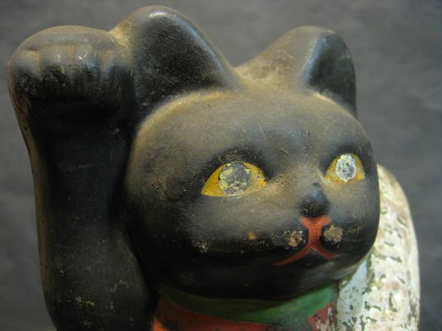 ★戦前 黒猫の招き猫 土人形★_画像5