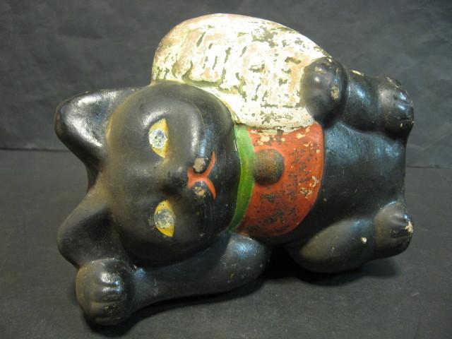 ★戦前 黒猫の招き猫 土人形★_画像6