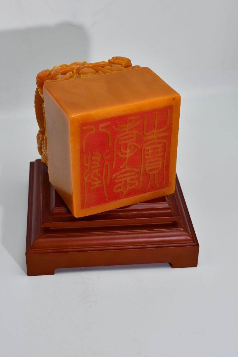 中国古美術 印材 印鑑 篆刻 寿山石 原石彫刻 書道具貴重 田黄石 _画像6
