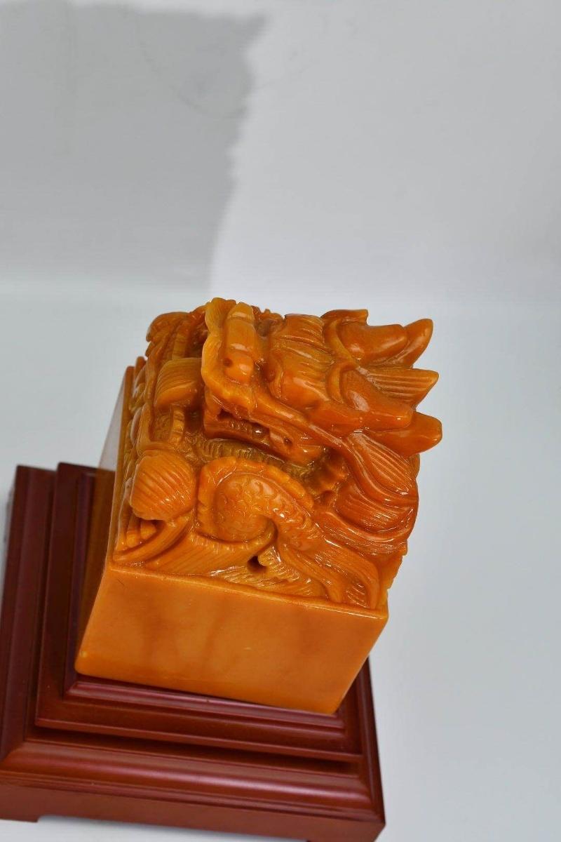 中国古美術 印材 印鑑 篆刻 寿山石 原石彫刻 書道具貴重 田黄石 _画像5