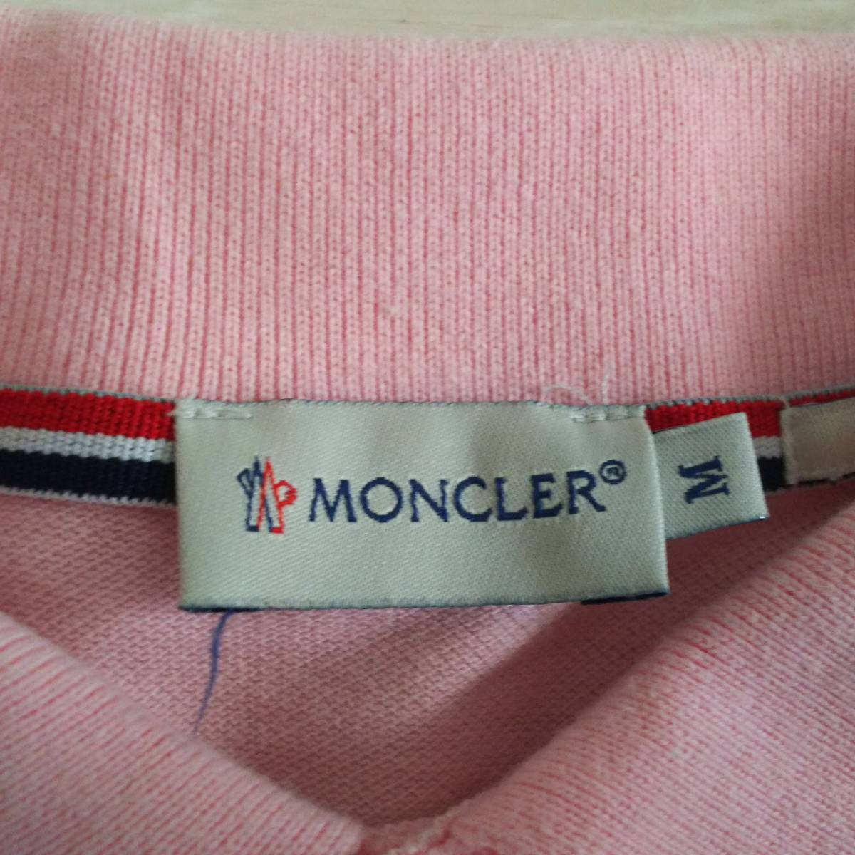 ★モンクレール MONCLER スリムフィット 半袖 ポロシャツ ピンク×白 レディース★_画像3