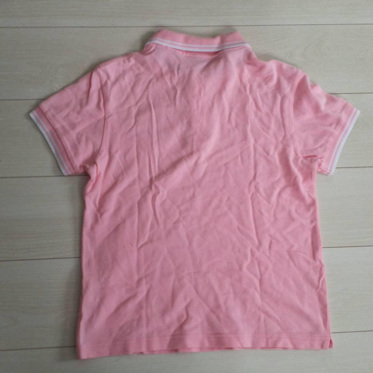 ★モンクレール MONCLER スリムフィット 半袖 ポロシャツ ピンク×白 レディース★_画像4