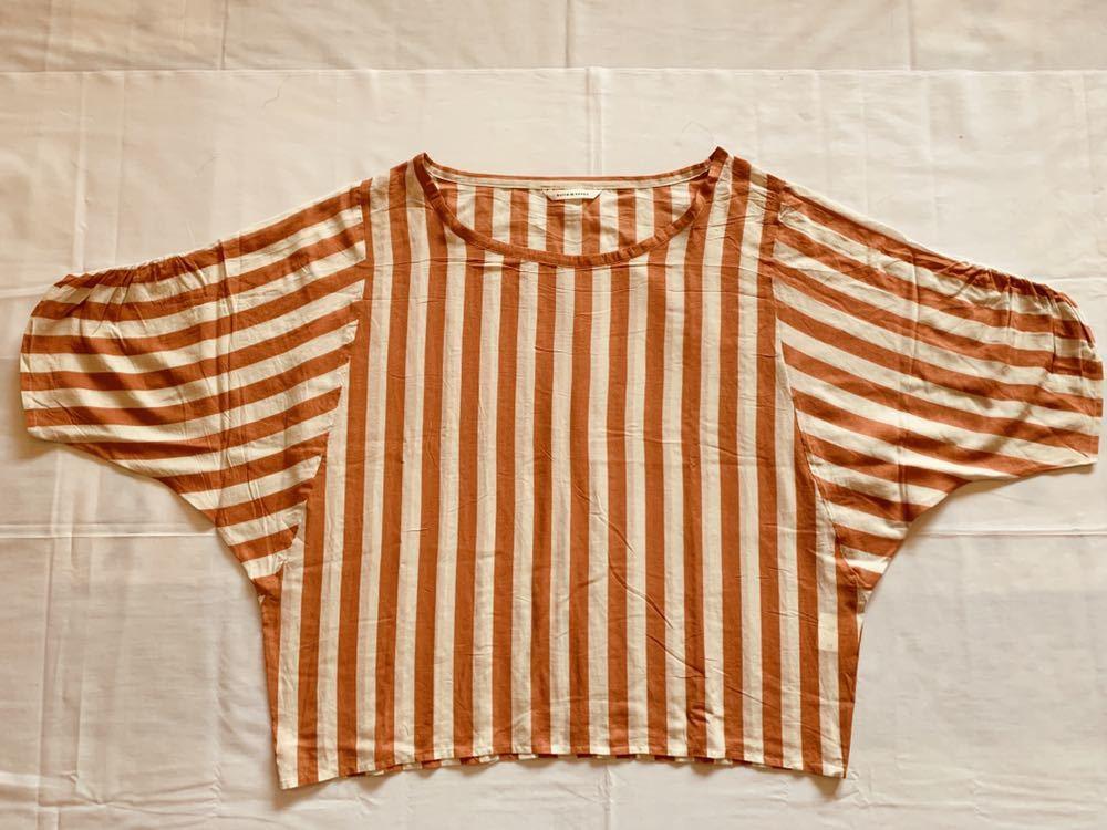 273m ●bulle de savon ビュルデサボン 表記サイズF 実寸M~L 綿65% 絹シルク35% プルオーバー 極薄ブラウス 淡オレンジ系
