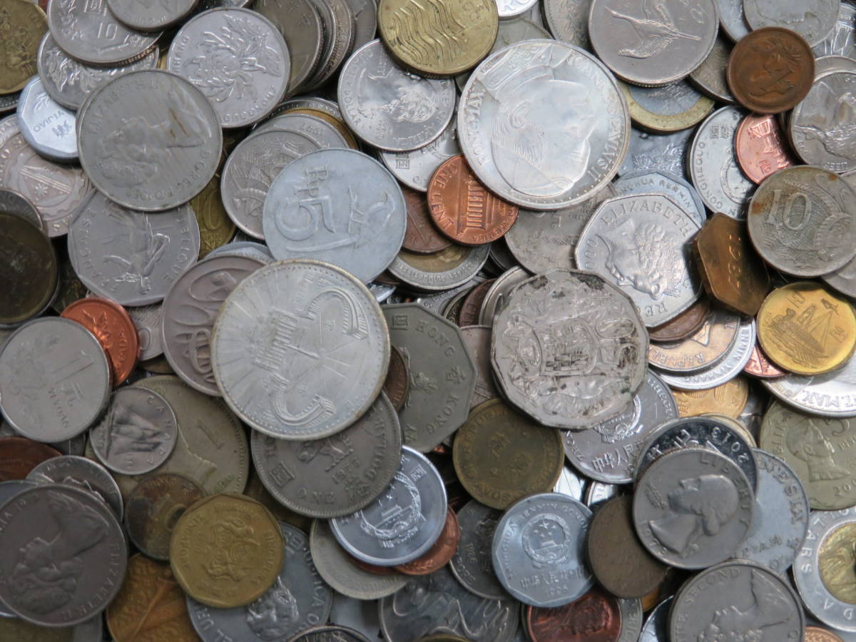 【外国コイン】外国銭まとめて10Kg アメリカなど世界各国コイン 未選別 大型コインなど_画像2