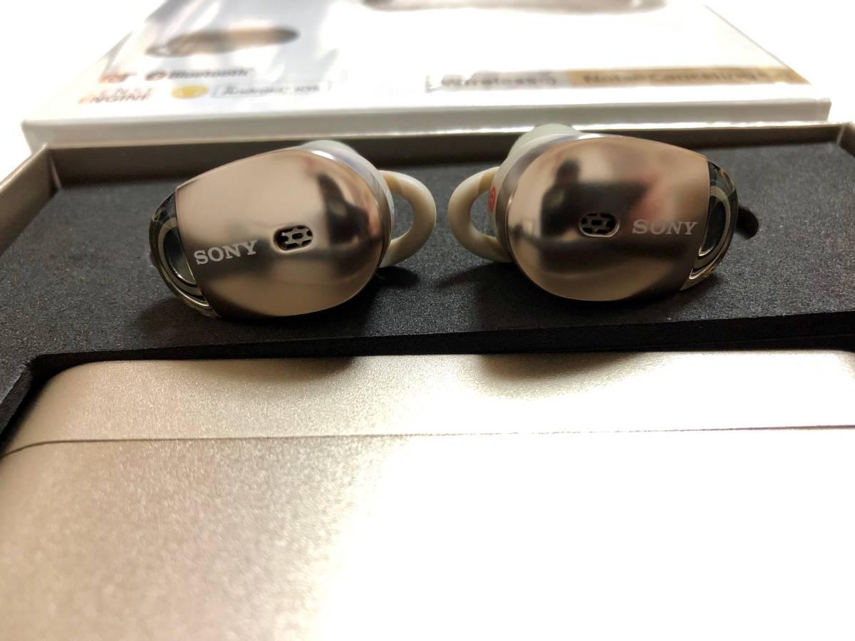 SONYソニー【美品】 WF-1000X(N) シャンパンゴールド ワイヤレス ノイズキャンセリング イヤホン _画像4