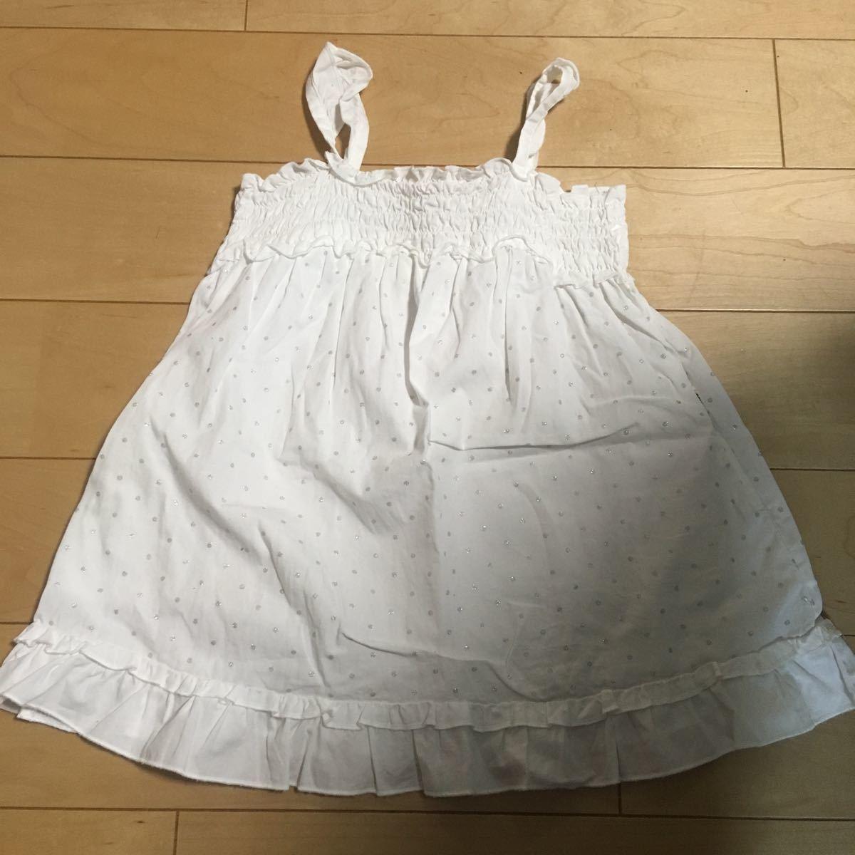 コムサイズム COMME CA ISM ワンピース ホワイト 白 ドット 90 サイズ ノースリーブ 美品 女の子 女児_画像1