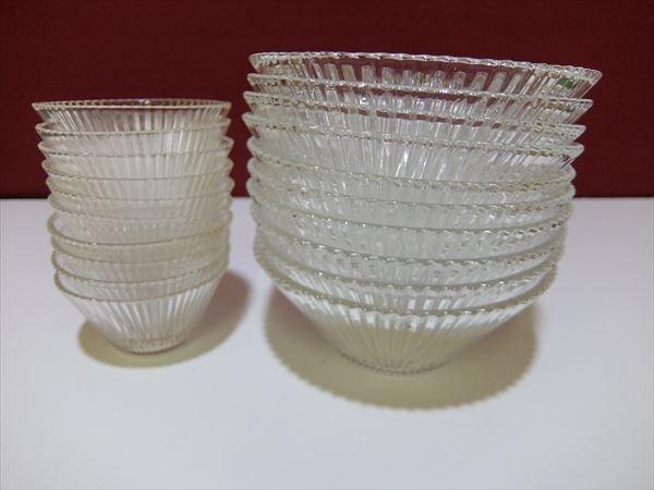 H11●クリスタルガラス ガラス鉢 大鉢小鉢 合わせて20客 お買い得 そうめん ひやむぎ 和え物 つけめん デザート ボール_画像2
