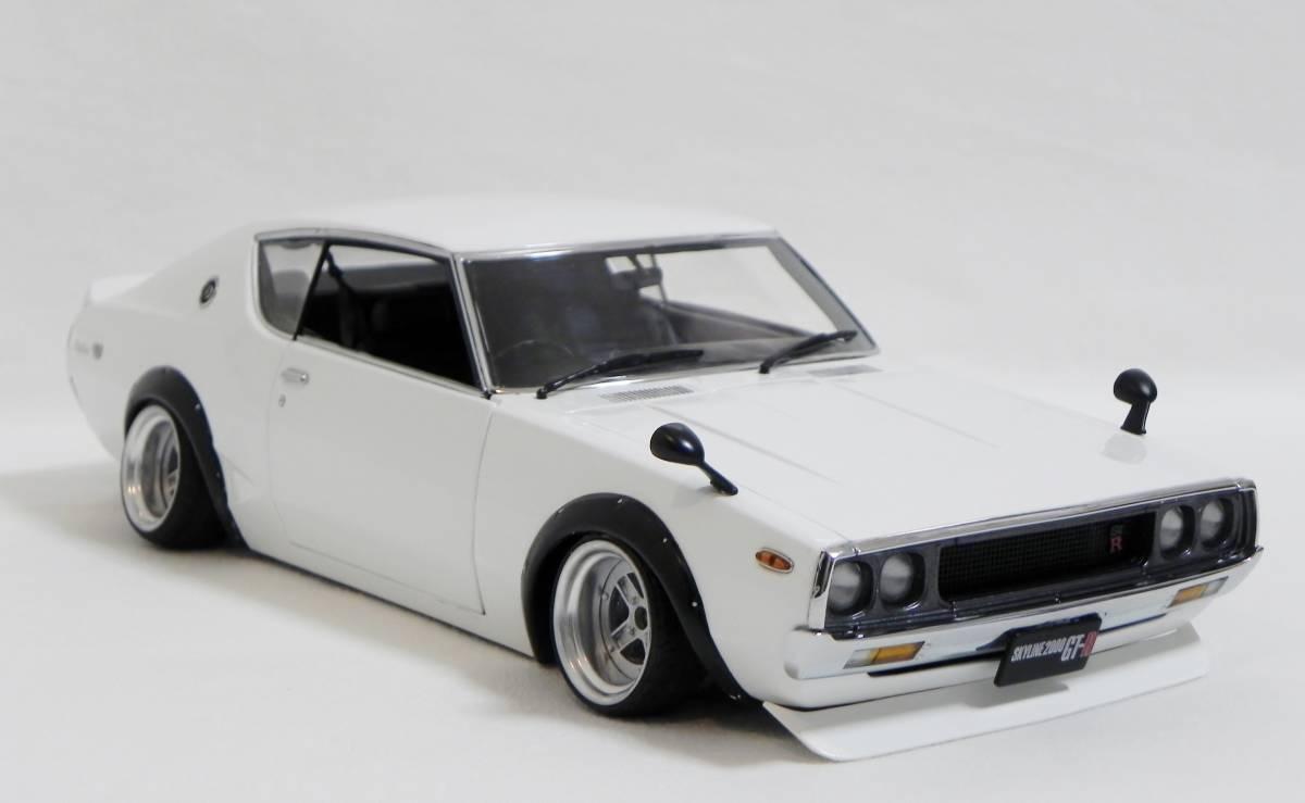 京商 1/18 スカイライン 2000 GT-R (KPGC110) ケンメリ SSR Mk-IIホイール改 ホワイト ローダウンカスタム