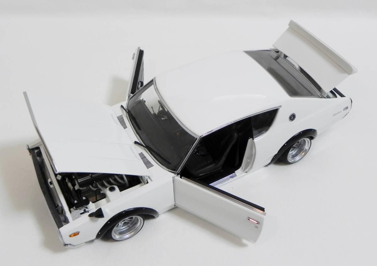 京商 1/18 スカイライン 2000 GT-R (KPGC110) ケンメリ SSR Mk-IIホイール改 ホワイト ローダウンカスタム_画像3
