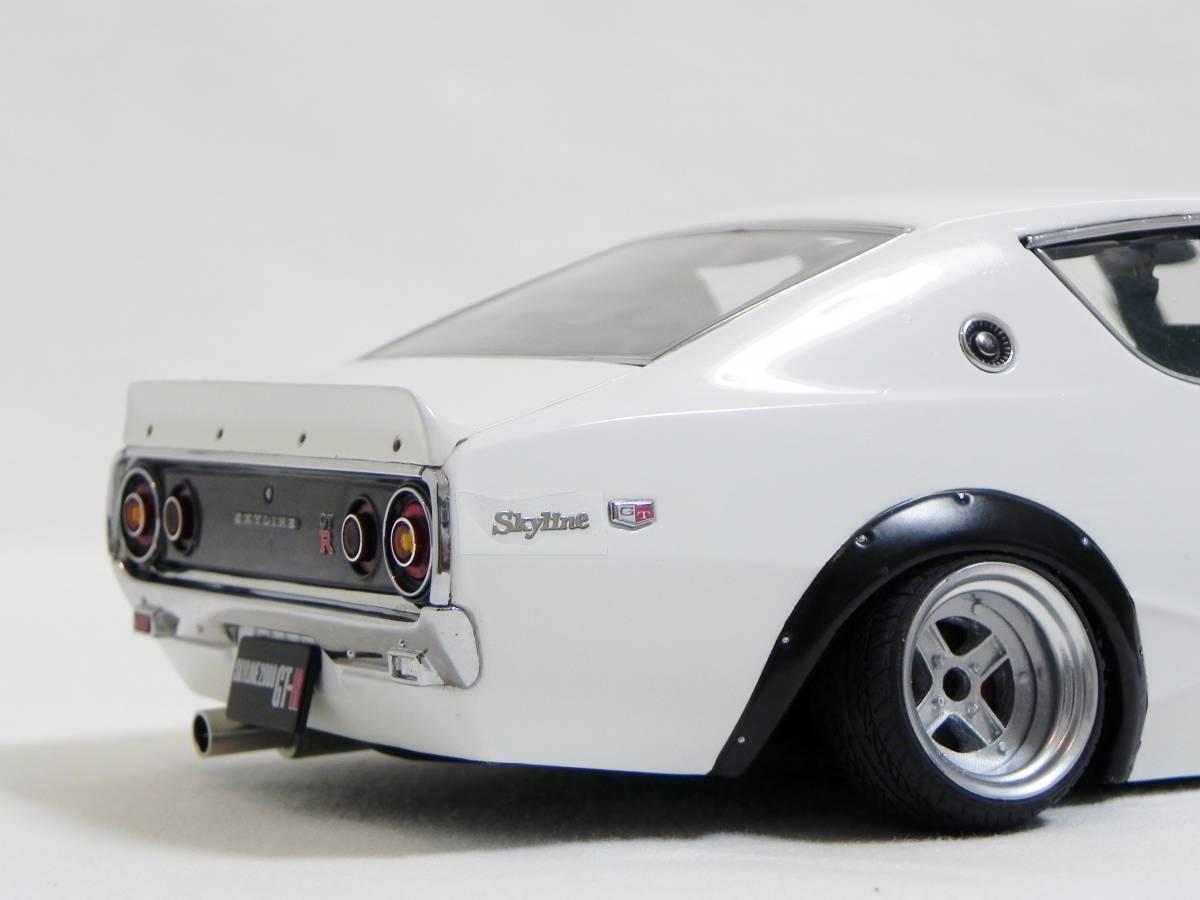 京商 1/18 スカイライン 2000 GT-R (KPGC110) ケンメリ SSR Mk-IIホイール改 ホワイト ローダウンカスタム_画像7
