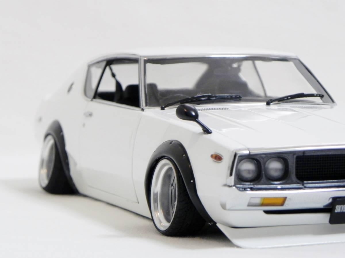 京商 1/18 スカイライン 2000 GT-R (KPGC110) ケンメリ SSR Mk-IIホイール改 ホワイト ローダウンカスタム_画像8