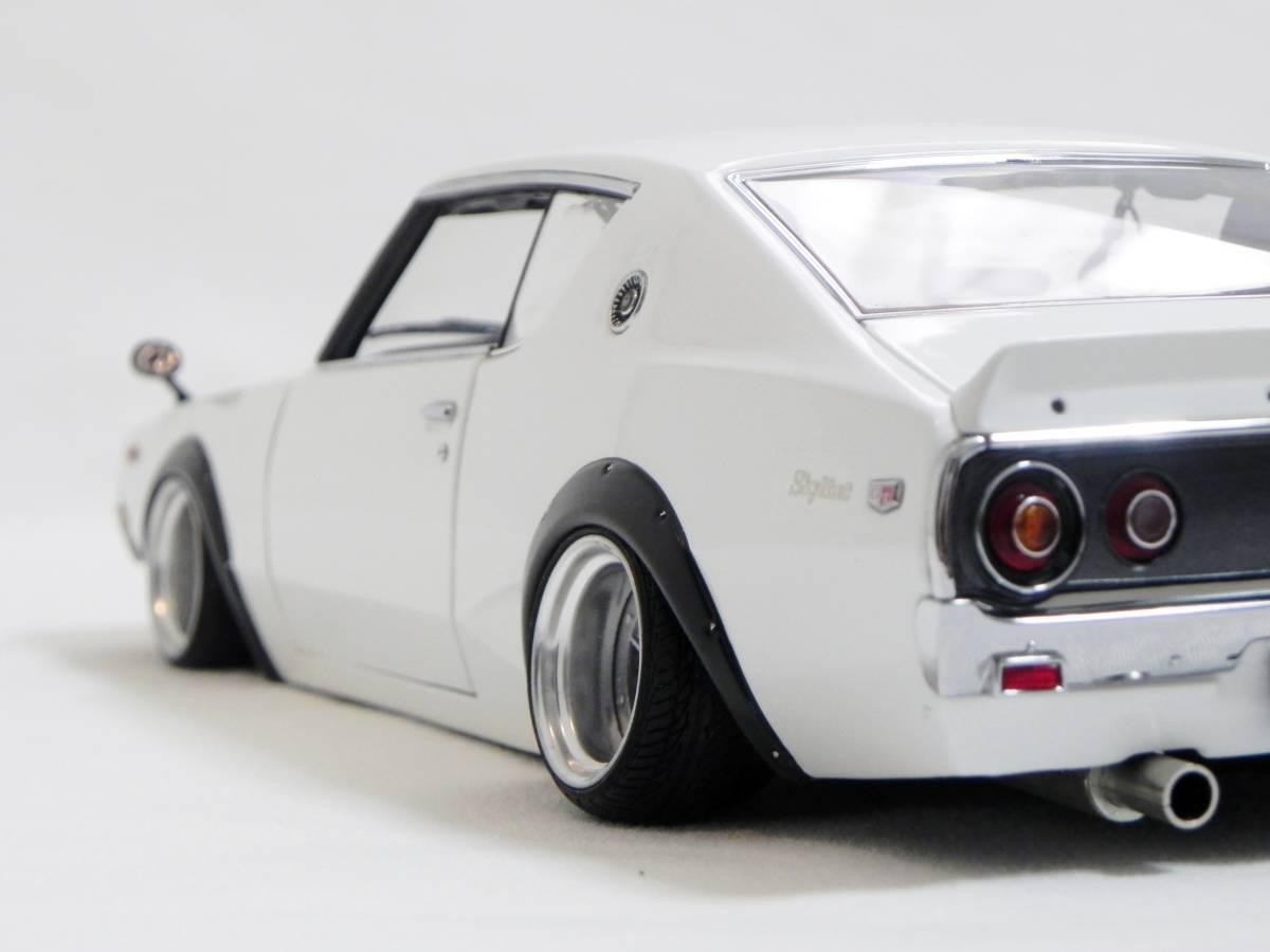 京商 1/18 スカイライン 2000 GT-R (KPGC110) ケンメリ SSR Mk-IIホイール改 ホワイト ローダウンカスタム_画像9