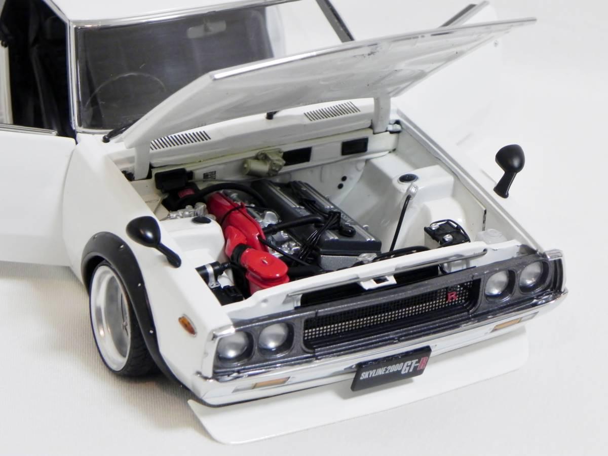 京商 1/18 スカイライン 2000 GT-R (KPGC110) ケンメリ SSR Mk-IIホイール改 ホワイト ローダウンカスタム_画像10