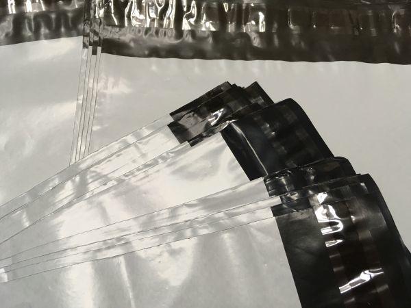 宅配ビニール袋 60ミクロン ヤフオク メルカリ 小物発送 白 内側黒 A3 50枚 おまけつき 配送袋 ワンタッチテープ付き 薄手 防水 業務用③